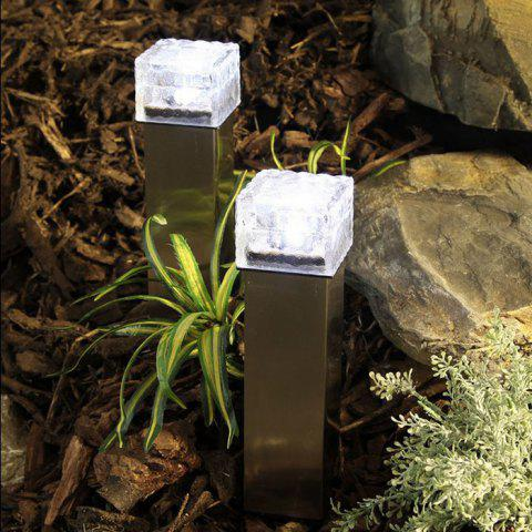 Solar Power Ice Brick Shape Crystal LED Light Glass White Path Lamp for Outdoor Yard Garden Deck Road - Transparent