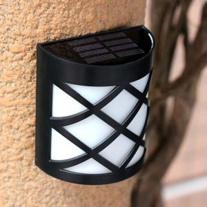 CIS-57654 Solar Power 6 LED Wall Lamp Plastic Lobby Pathway Fence Light -