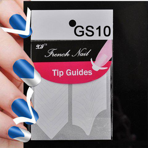 Latest GS10 Fashion DIY French Manicure Nail Art Tips Tape Sticker Guide Stencil Finger Tool - GS10 WHITE Mobile