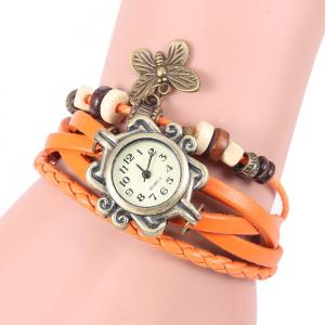 Retro Quartz Watch with Butterfly Round Dial and Knitting Leather Watch Band for Women - Orange