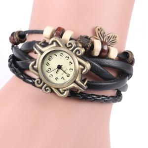 Retro Quartz Watch with Butterfly Round Dial and Knitting Leather Watch Band for Women - Black - M