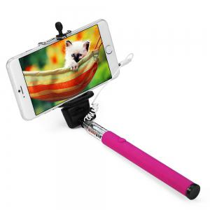 Z07 - 5S Mobile Phone Monopod Selfie Stick Self Portrait Pole with Remote Shutter Button 3.5mm Cable - Plum