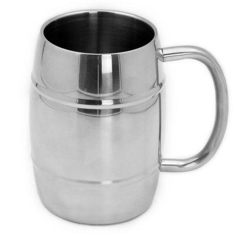 Online Drum Shape Stainless Steel Coffee Mug 300ml Practical Water Cup SILVER