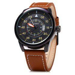 Curren 8210 Leather Band Men Quartz Watch -