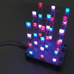 3 x 3 x 4 Color LED Light Cube Kit with 2 Button - WHITE