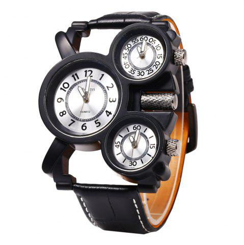 New Oulm 1167 Leather Band Male Watch 3-Movt Quartz Wristwatch