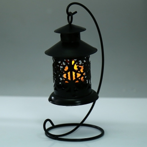 Classical Moroccan Style Iron Candle Holder Lantern Candlestick - BLACK