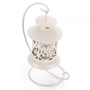 Classical Moroccan Style Iron Candle Holder Lantern Candlestick - OFF WHITE