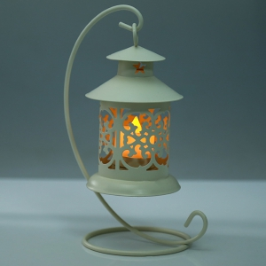 Classical Moroccan Style Iron Candle Holder Lantern Candlestick - OFF-WHITE