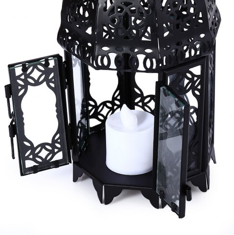 Shop Classical Suspended Hollow Style Iron Candle Holder Lantern Candlestick - BLACK  Mobile