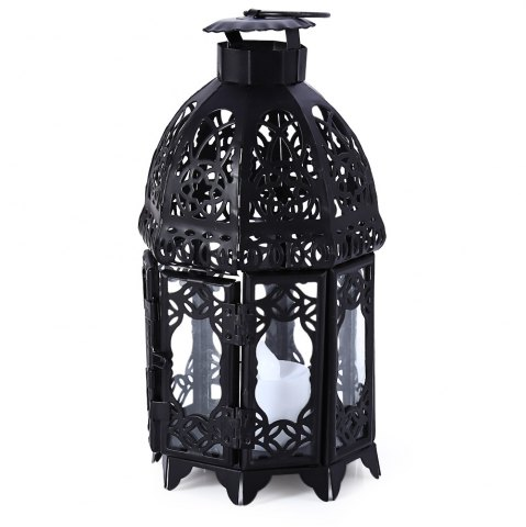 Affordable Classical Suspended Hollow Style Iron Candle Holder Lantern Candlestick - BLACK  Mobile