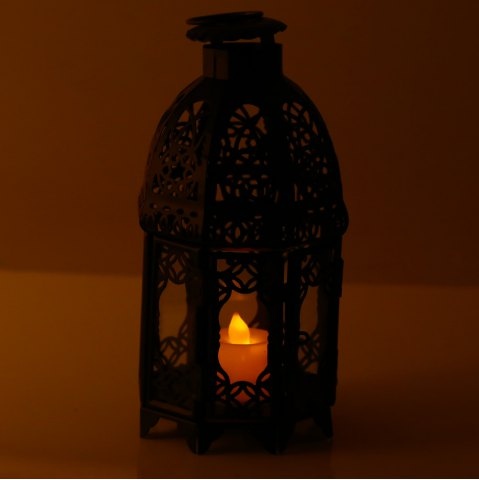 Fancy Classical Suspended Hollow Style Iron Candle Holder Lantern Candlestick - BLACK  Mobile