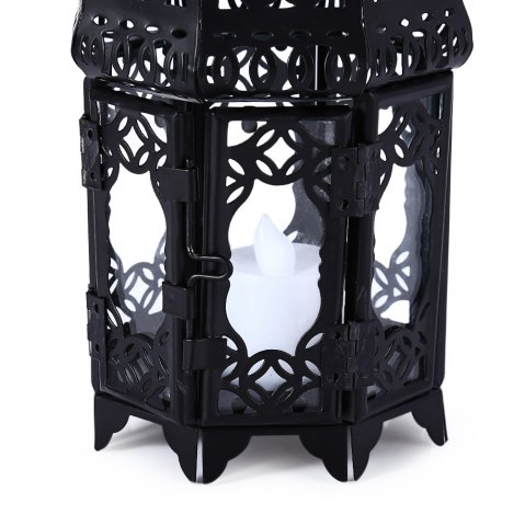 Trendy Classical Suspended Hollow Style Iron Candle Holder Lantern Candlestick - BLACK  Mobile