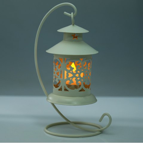Affordable Classical Moroccan Style Iron Candle Holder Lantern Candlestick - OFF-WHITE  Mobile
