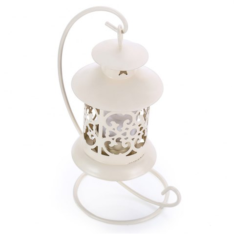 Outfit Classical Moroccan Style Iron Candle Holder Lantern Candlestick - OFF-WHITE  Mobile
