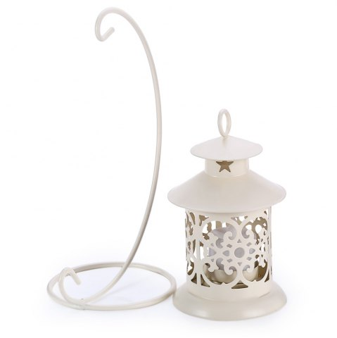 Online Classical Moroccan Style Iron Candle Holder Lantern Candlestick - OFF-WHITE  Mobile
