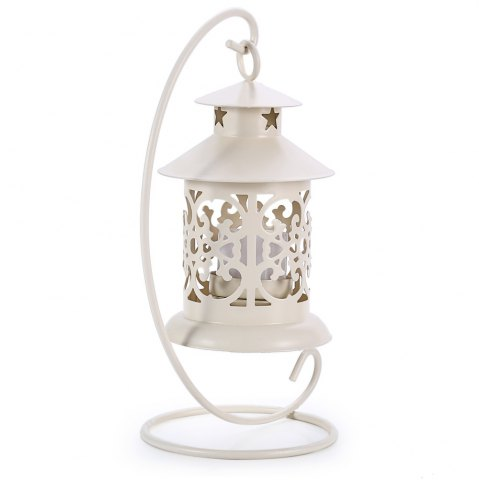 Shop Classical Moroccan Style Iron Candle Holder Lantern Candlestick - OFF-WHITE  Mobile