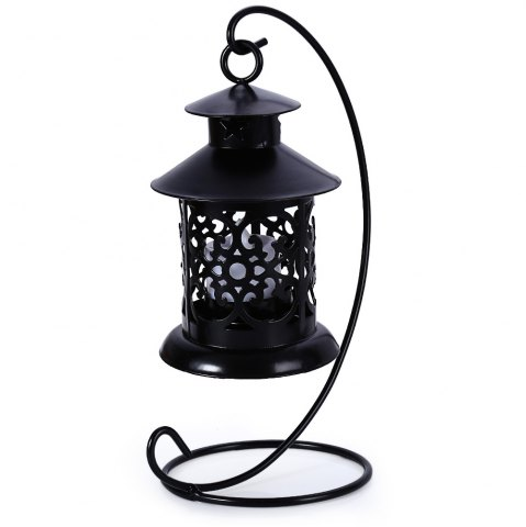 Shops Classical Moroccan Style Iron Candle Holder Lantern Candlestick BLACK
