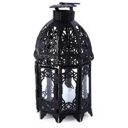 Classical Suspended Hollow Style Iron Candle Holder Lantern Candlestick - BLACK
