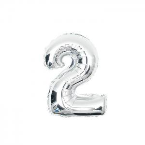 16 inch Foil Solid Number Balloon Festival Home Party Decoration - Silver - 2#