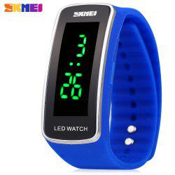 Skmei 1119 LED Light Sports Watch Silicone Strap Unisex Wristwatch Water Resistance -