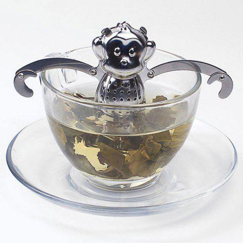 Store Stainless Steel Monkey Shape Tea Filter Creative Teabags Strainer SILVER