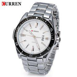 CURREN 8110 Men Quartz Watch Stainless Steel Band Date Sports Wristwatch -