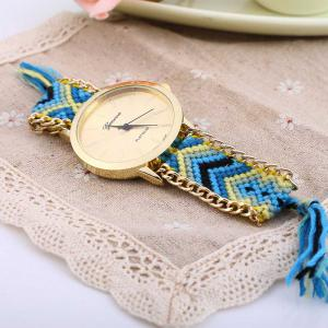 Geneva Women Weave Fabric Multicolor Band Wrist Watch -