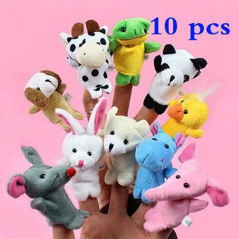 Chic 10Pcs Finger Puppet Cartoon Animal Style High Quality Plush Toy