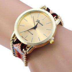 Geneva Women Weave Fabric Multicolor Band Wrist Watch