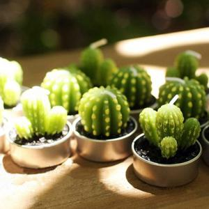 6PCS Creative Simulation Succulent Plants Shape Candles Christmas Party Decorations -