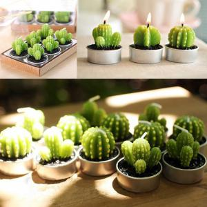 6PCS Creative Simulation Succulent Plants Shape Candles Christmas Party Decorations - Green - Tree Shape