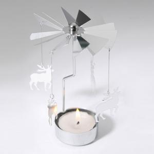 European Retro Rotating Windmill Style Candle Holder Valentine's Day Decorative Candlestick - Silver - Christmas Deer Shape