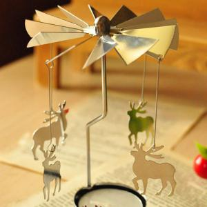 European Retro Rotating Windmill Style Candle Holder Valentine's Day Decorative Candlestick - SILVER CHRISTMAS DEER SHAPE