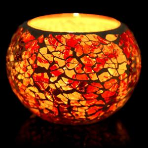 European Mosaic Glass Style Candle Holder Decorative Candlestick Home Wedding Decor Gift - Colorful - E Style