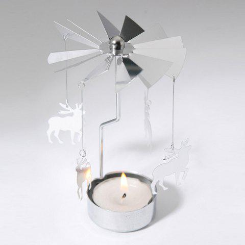 Sale European Retro Rotating Windmill Style Candle Holder Valentine's Day Decorative Candlestick SILVER CHRISTMAS DEER SHAPE