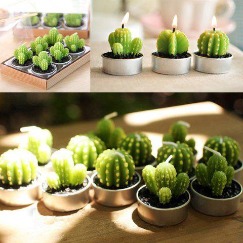 Chic 6PCS Creative Simulation Succulent Plants Shape Candles Christmas Party Decorations GREEN TREE SHAPE