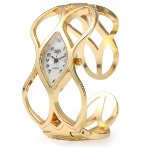 My's Oval Dial Gold Hollow-out Band Bracelet Wristwatch Quartz Women Watch - White