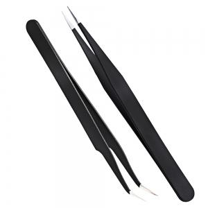 2pcs Black Bend Straight Anti-Static Stainless Steel Handle Curved Head Nail Art Tweezer Set -