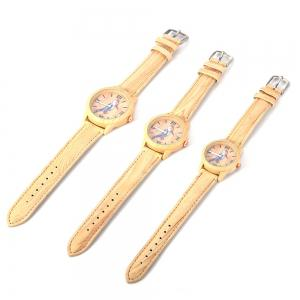 Geneva 150717-3 Woodpecker Pattern Wood-like Women Quartz Watch Leather Band -
