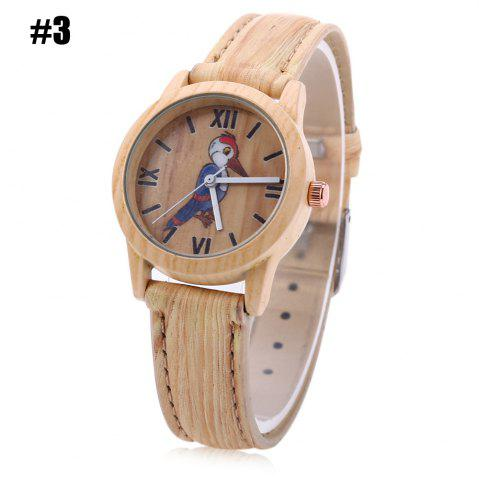Latest Geneva 150717-3 Woodpecker Pattern Wood-like Women Quartz Watch Leather Band