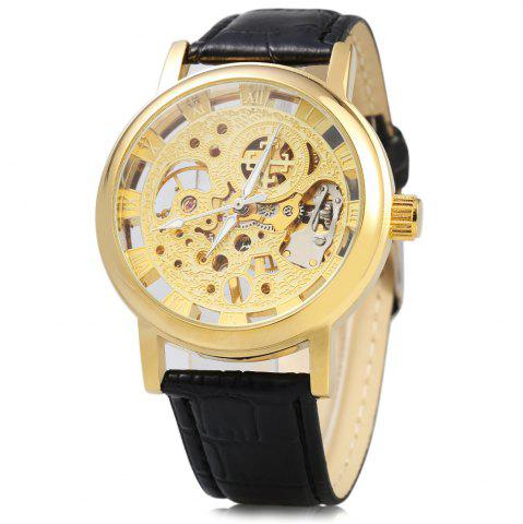 Latest Hollow-out Dial Male Automatic Mechanical Movt Watch Leather Band