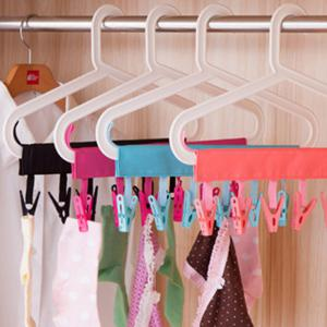 Bathroom Hanging Clothes Pegs Travel Folding Portable Fabric Hangers -