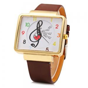 JUBAOLI 1094 Women Quart Watch Note Decoration Arabic Number Scale Leather Band -