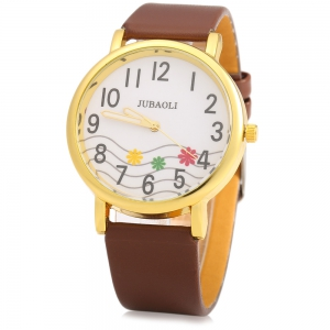 JUBAOLI 1091 Women Quart Watch Flower Decoration Arabic Number Scale Leather Band -