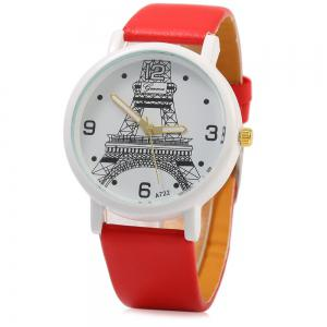 Geneva A722 Women Quart Watch Arabic Numerals and Dot Scale Leather Band -