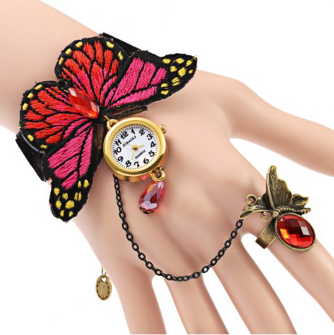 Chic JUBAOLI A1086 Female Quartz Watch with Ring Bracelet Butterfly Design
