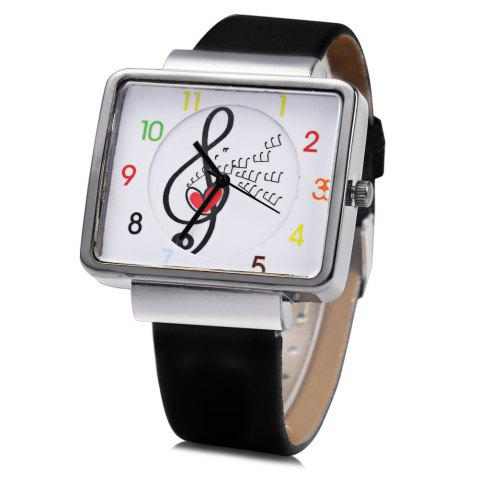 Fashion JUBAOLI 1094 Women Quart Watch Note Decoration Arabic Number Scale Leather Band