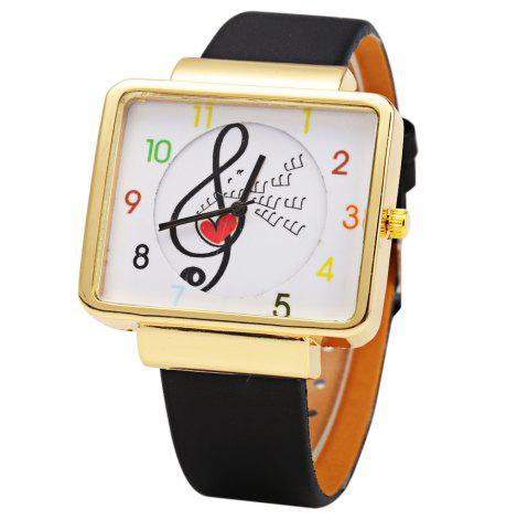 Trendy JUBAOLI 1094 Women Quart Watch Note Decoration Arabic Number Scale Leather Band