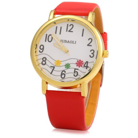 Outfit JUBAOLI 1091 Women Quart Watch Flower Decoration Arabic Number Scale Leather Band